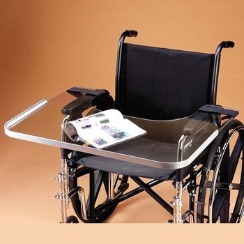 "Clear Bariatric Wheelchair Tray with Aluminum Rim, Fits up to 28"" Wide, Holds Food, Drink, Books, Magazines, and More 41pPfhmpcML"