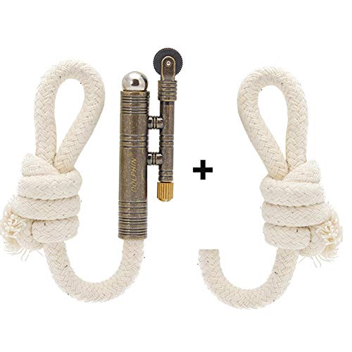 Vintage Lighter Retro Trench Rattlesnake Rope Velvet Metal Lighter Fire Starter Camping Outdoors,1 Lighter + 1 Rope