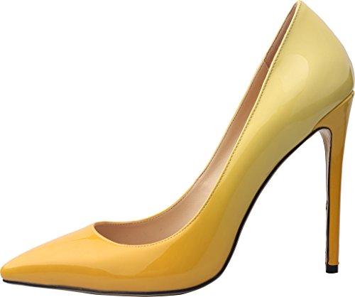 Tacco 12CM Scivolare Scarpe Giallo Spillo Vaneel Calzature A su Donna Vaaloe Gradient Tacco col qYwxTtE