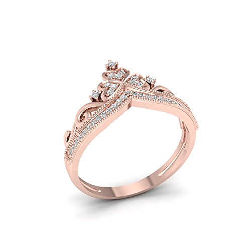 De Couer 10k Rose Gold 1/8ct TDW Diamond Crown Shape Fashion Ring (I-J, I2)