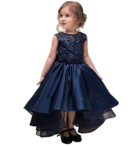 Portsvy Navy Blue Hi-Low Wedding Kids Sleevelesss Lace Pageant Flower Girl Ball Gowns -