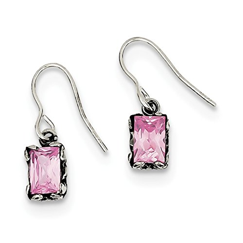 925 Sterling Silver Pink Cubic Zirconia Cz Drop Dangle Chandelier Earrings Fine Jewelry For Women Gift Set -