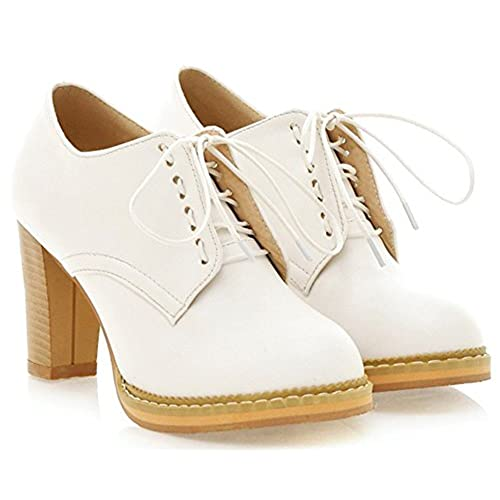 IDIFU Womens Vintage Spliced Mid Chunky Heels Lace Up Oxfords Shoes  H42JNT6XU