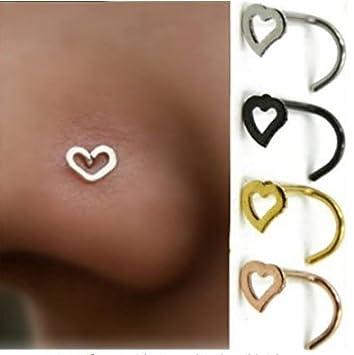 Homgomco Nez épingles Piercing Ring Nose Ring Acier Inoxydable Argent/Or / Bague pour Piercing Noir (Black)