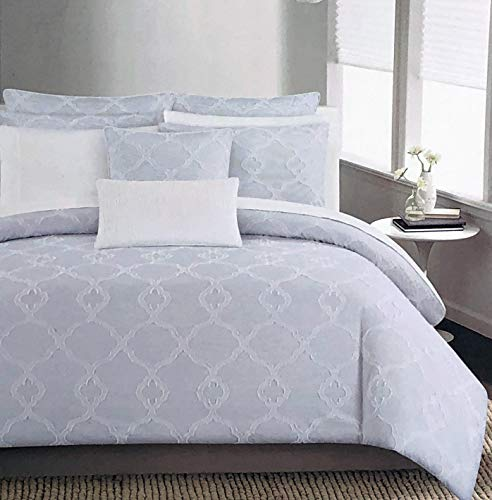 The Texture Collection 3pc Duvet Cover Set Tufted Jacquard Braided Quatrefoil Style Pattern on a Background with Thin Blue and White Stripes (Full/Queen) ()