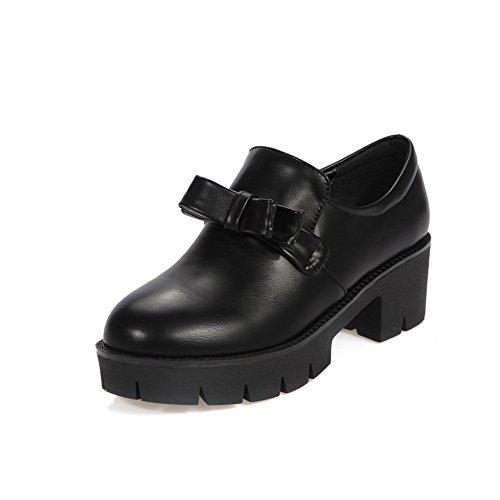 BalaMasa Girls Chunky Heels Spun Gold Bowknot Platform Black Imitated Leather Pumps-Shoes - 4.5 B(M) US