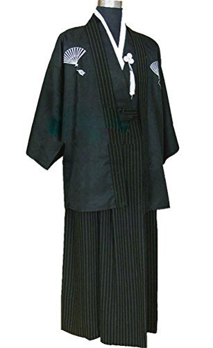 Japanese Kimono Adult Men, Halloween Cosplay Costume Outfit Robe Yukata (S, (Yukata Halloween Costume)
