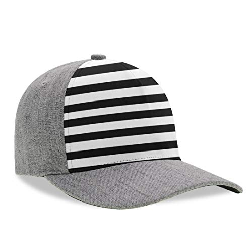 YongColer Unisex Adult Black and White Mosaic Vertical Stripes Dad Hat, Fitted Trucker Hat, Baseball Cap, Peaked Hats, Moisture Wicking Breathable Adjustable Snapback Hat for Hiking Fishing