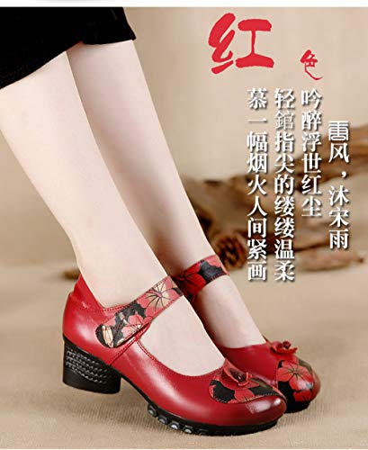 Mère Simples De Chaussures D'âge Wlfhm Femme Moyen D'automne Red Vieilles Femmes Confortables Bas Et xCE5n