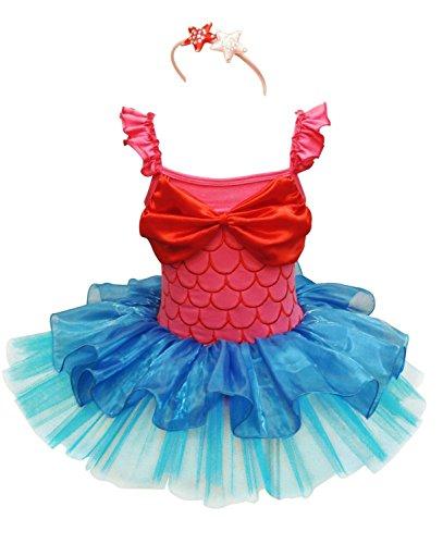 [Yanzi6 Little Girls' Mermaid Tutu Costume with Headband (100cm)] (Little Mermaid Tutu Dress)
