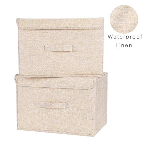 (HOKEMP Set of 2 Extra Large Foldable Storage Cubes Bin Box Containers with Lid Gray for Home, Office, Nursery, Closet, Bedroom, Living Room (2 Pack - Beige Yellow) )