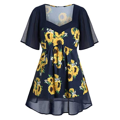 (Holzkary Women's Fashion Sunflower Printed Shirts Casual V-Neck Short Sleeve Plus Size Tunic Tops(3XL(18).Navy))
