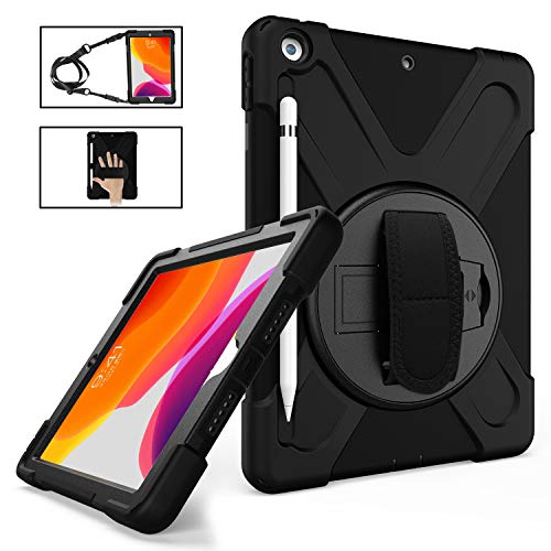 iPad 10.2 Case 2019 with Pencil Holder, TSQ iPad 7th Generation Case Heavy Duty Shockproof Hard Durable Rugged Protective PC Case with Hand Strap/Stand/Shoulder Strap for iPad 7th Generation,Black (Ipad Otterbox Carrying Case)