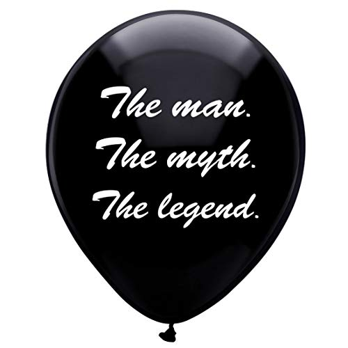 MAGJUCHE Black The Man The Myth The Legend Balloons, 16pcs Funny Birthday Party Decorations for him -