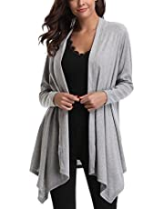 Miss Moly Women's Drape Front Open Lightweight Long Sleeve Cardigan Thin Irregular Hem