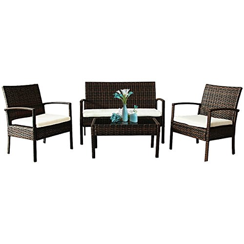 Tangkula 4 PCS Wicker Conversation Set Outdoor Patio Garden Lawn Rattan Furniture Set with Cushions (Furniture Buy Patio)