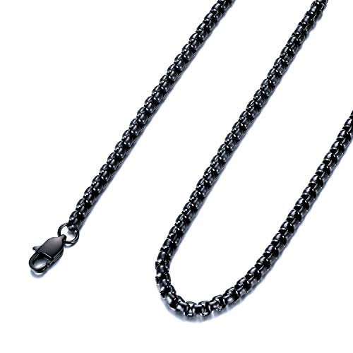 (FEEL STYLE 4mm Stainless Steel Black Rolo Necklace for Men Women Box Cable Chain 28