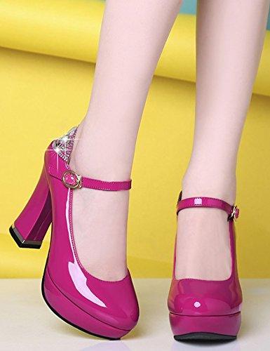 Idifu Donna Sexy Diamante Punta Tonda Basso Alto Alto Grosso Cinturino Alla Caviglia Cinturino Scarpe Da Sposa Scarpe Rosa Rossa