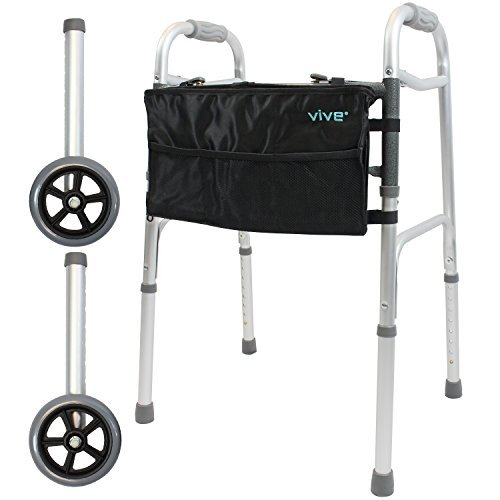 Folding Walker by Vive [Plus Bag and Wheels] - Narrow 23 Inch Wide Elderly Walker Is Adjustable & Portable - Walking Aid That Easily Opens and Closes With Push Button - Walker Supports Up To 250 lbs.