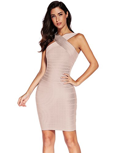 (Meilun Women's Rayon Front Cross Cocktail Bandage Bodycon dress Small Beige)