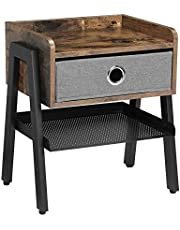 VASAGLE Industrial Nightstand, End Table with Metal Shelf, Side Table for Small Spaces ULET64X