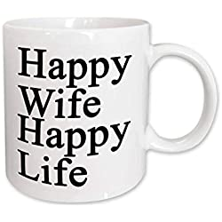 "3dRose 218585_1 Wife Happy Life Black"" Ceramic Mug 11 oz"
