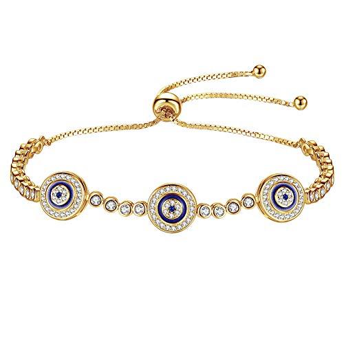 Kaletine Blue Evil Eyes Tennis Bracelet Sterling Silver Cubic Zirconia Chain Adjustable 5