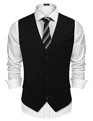 (COOFANDY Men's Dress Vest Sleeveless Button Stripe Waistcoat Winter Spring)