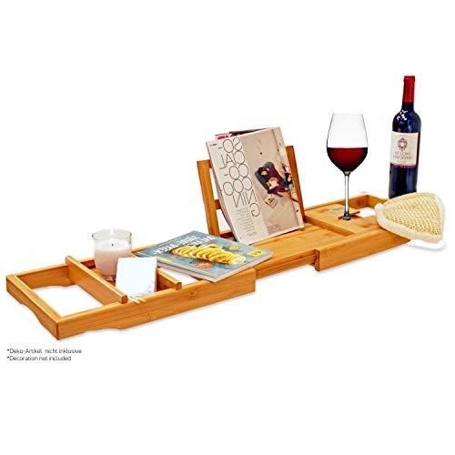 Bambus Badewannenablage – Badewannenauflage – Badewannenregal. Aus Bambus Holz, stabil und ausziehbar. Für Tablet…