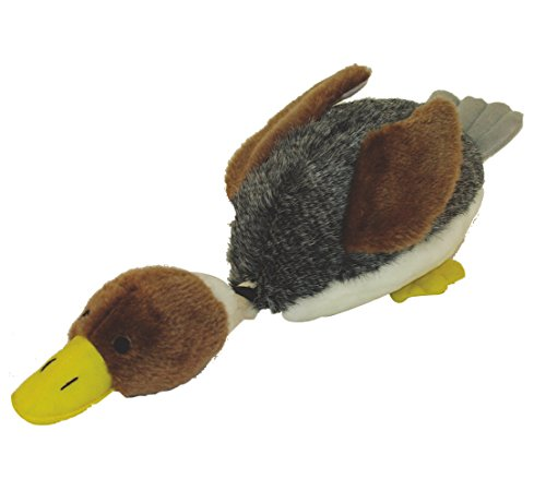 Dehner Daffy Toy for Dogs with Duck Sound Approx. 40 x 17 cm, Plush, Grey/Brown