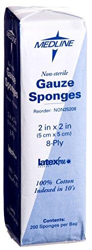 Medline NON25208 Woven Non-Sterile Gauze Sponges, 2''x2'' (Case of 5000) by Medline