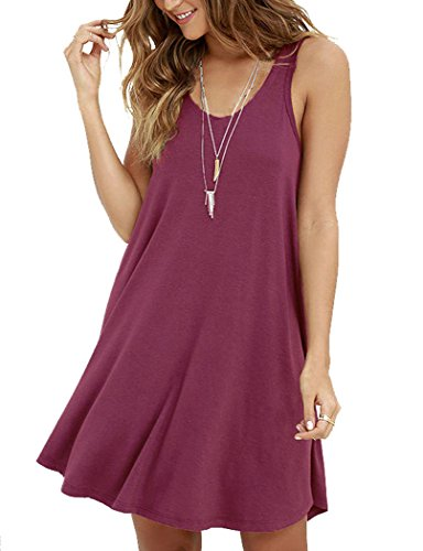 (MOLERANI Women's Casual Swing Simple T-shirt Loose Dress, Medium,  Mauve )