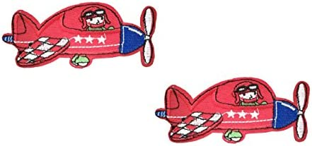Iron On Red Plane Applique Patch