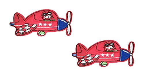 2 pieces Red AIRPLANE Iron On Patch Fabric Aeroplane Transport Applique Motif Plane Decal 4 x 1.9 inches (10 x 4.8 cm)