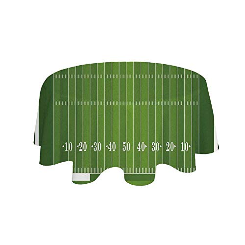 - YOLIYANA Football Waterproof Round Tablecloth,Sports Field in Green Gridiron Yard Competitive Games College Teamwork Superbowl for Living Room,35.4