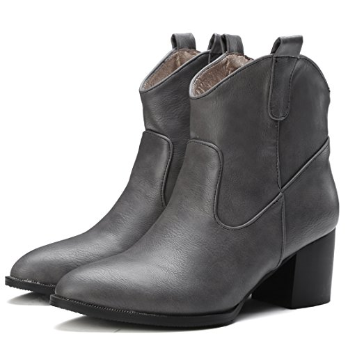 c6a52a56d39f Pour Winter Shoes Courtes Chaude Chunky Bottines Bloc Ye Gris Ankle Boots  Mi talon Pointu Bottes Hiver Femme Chaussure 6cm De Bout ...