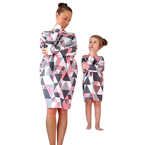 Famiglia amp; Donna Stampare Bambini Abiti Maniche Lungo Vestito Vestito Mammina Ragazze Geometrico Multicolore qB1BUvw