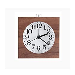 WAYCOM Handmade Exquisite Square Silent Mute Table Snooze Small Wood Alarm Clock with Nightlight