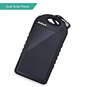 [Upgraded Version] Solar Charger, Nekteck 6000mAh Dual Solar Panel with 2 USB Ports Portable Charger Backup Power Pack for iPhones, Samsung Galaxy Phones, Android Smartphones, GPS, and More from Nekteck