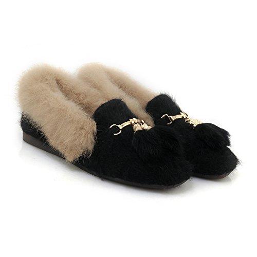 Show Shine Dames Casual Warm Dia Loafers Schoenen Zwart