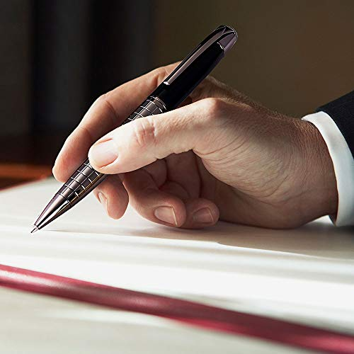 Pen, Ballpoint Pens Black Pens Medium Ball Point 1.0mm Smooth Writing Grip Metal Retractable Executive Business Office Fancy Nice Gift Pen for Men Women (Gun Black, 2 Pack 4 Refills, No Gift Case)