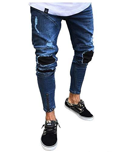 Slim Uomo Vintage Pantaloni Fashion Comodo Da Streetwear Hip Strappati Colour Jeans Casual Hop Battercake tqzwvdv