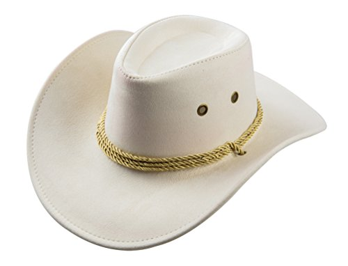 UwantC Mens Faux Felt Western Cowboy Hat Fedora Outdoor Wide Brim Hat with Strap Beige White ()