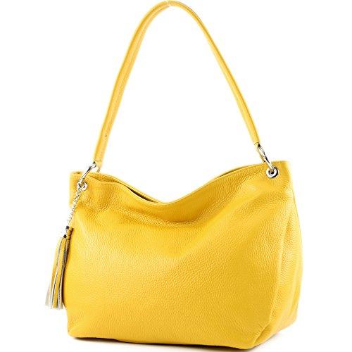 modamoda de - Made in Italy - Bolso al hombro para mujer amarillo