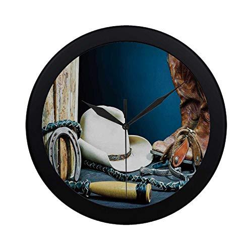 C COABALLA Western Decor Circular Plastic Wall Clock,Equestrian Backdrop with Antique Horseshoe Hat Cowboy Texas Style for Home,9.65