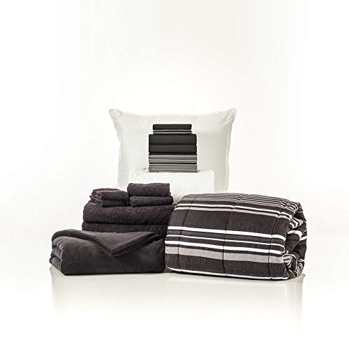 - Campus Linens 16 Piece Starter Pak Black Easton Twin XL College Dorm Bedding and Bath Set