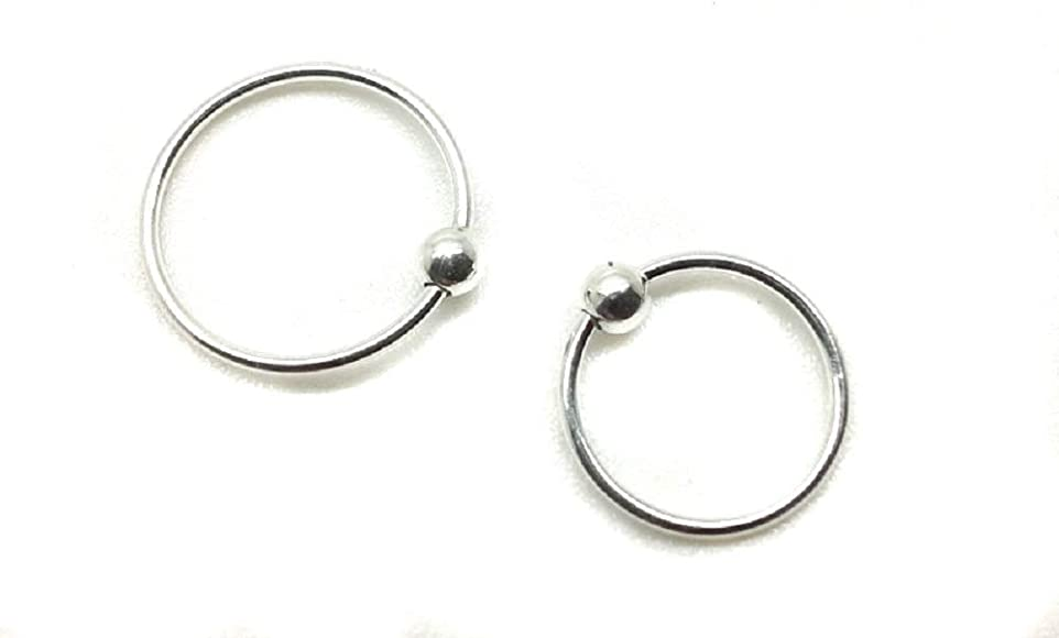 Set Of 2 Sterling Silver Nose Ring With Ball 8mm 10mm Amazon Co
