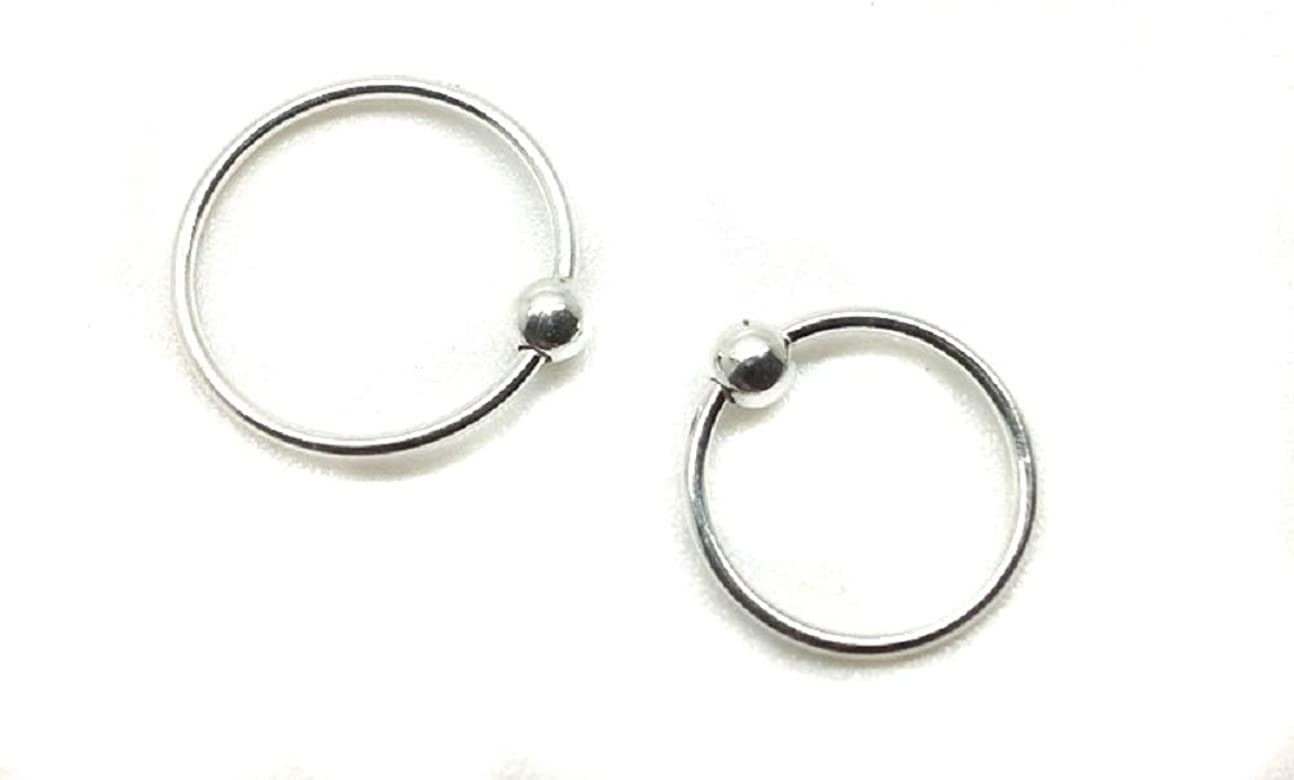 Sterling Silver Nose Ring Hoop 8mm 10mm Small Thin Piercing Body Ring UK