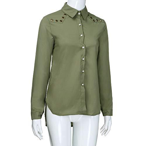 lache v V sexy col Couleur Vert Femme Arme Pull Manches femme Tops Blouse Manches Cou LANSKIRT Shirt Chemise Longues Sweat boutonne Top Haut Unie Longues qwa1Axvf