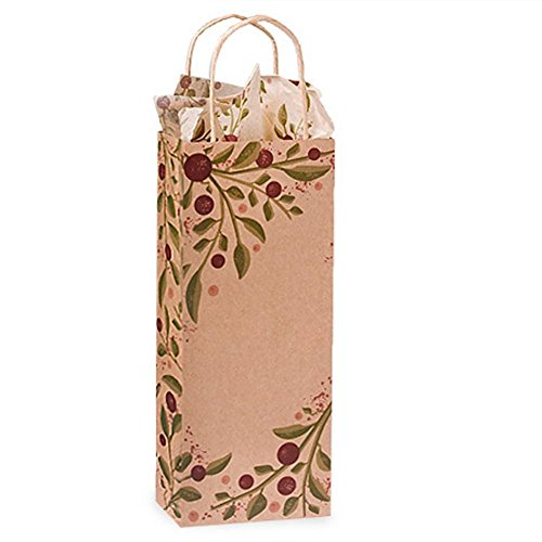 Tuscan Harvest Paper Shopping Bags - Wine Size - 5 1/2 x 3 1/4 x 13in. - Pack of 200 by NW